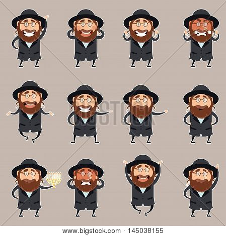 Vector image of the set of flet icons of jewish man