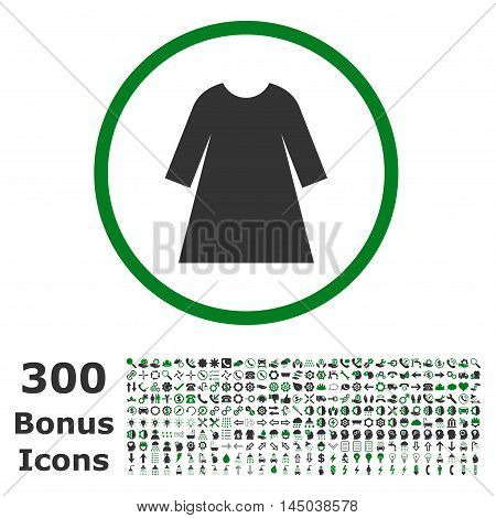 Woman Dress rounded icon with 300 bonus icons. Vector illustration style is flat iconic bicolor symbols, green and gray colors, white background.