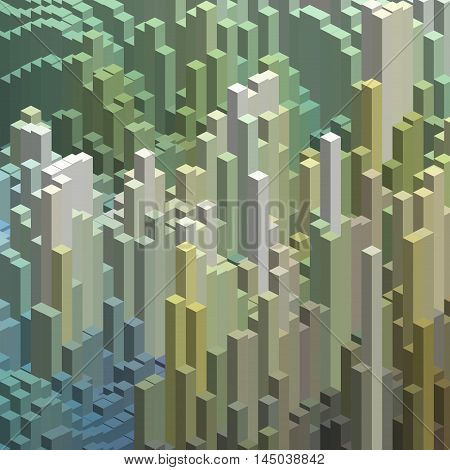Cubes In An Abstract Pattern For A Background. White, Green, Blue Colors.