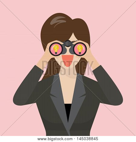 Business woman use binoculars looking for business idea. vector illustration