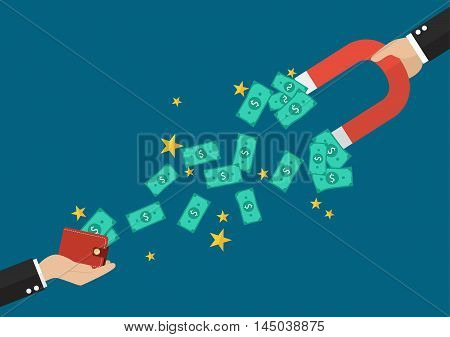 Businessman holding magnet attracting a money from other wallet. Business concept