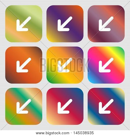 Turn To Full Screen Icon. Nine Buttons With Bright Gradients For Beautiful Design. Vector