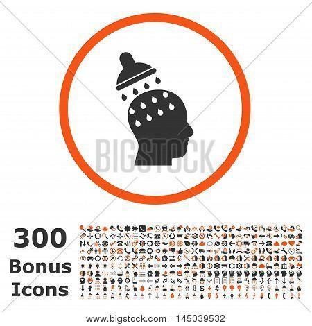 Brain Washing rounded icon with 300 bonus icons. Vector illustration style is flat iconic bicolor symbols, orange and gray colors, white background.