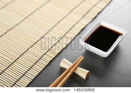 Sushi set on gray background