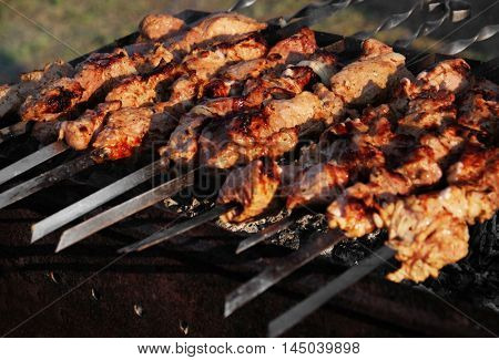 Meat pieces on skewer roasting in brazier