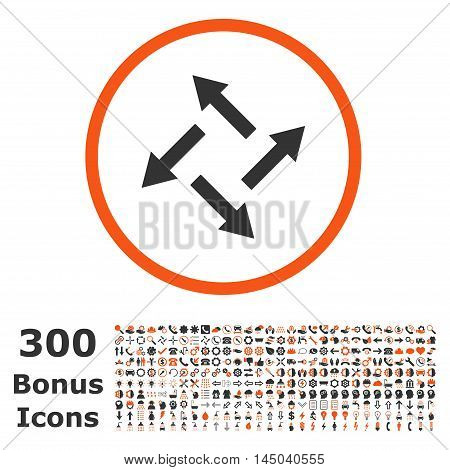 Centrifugal Arrows rounded icon with 300 bonus icons. Vector illustration style is flat iconic bicolor symbols, orange and gray colors, white background.