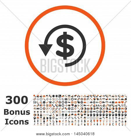 Chargeback rounded icon with 300 bonus icons. Vector illustration style is flat iconic bicolor symbols, orange and gray colors, white background.