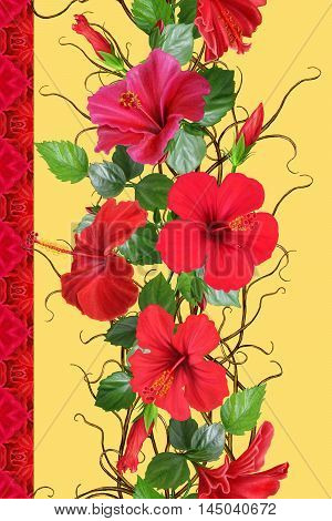 Vertical floral border. Pattern seamless. Flower garland weaving of thin branches red tropical hibiscus flowers.
