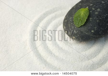 Black stone and green leaf on raked white sand of a zen garden. Symbol of life and meditation.