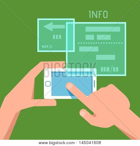 Vector flat illustration of phone in the hands. Concept of design playing video mobile game