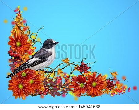 small black and white bird. composition of interwoven thin branches orange flowers of chrysanthemums bright autumn berries red leaves. Autumn background.
