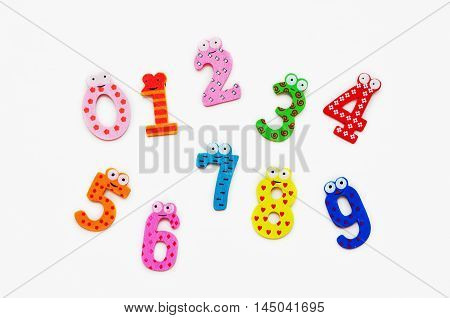 bright numbers on a white background for children