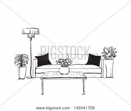 Modern interior hand drawing vector. Doodles sofa and flowerpot