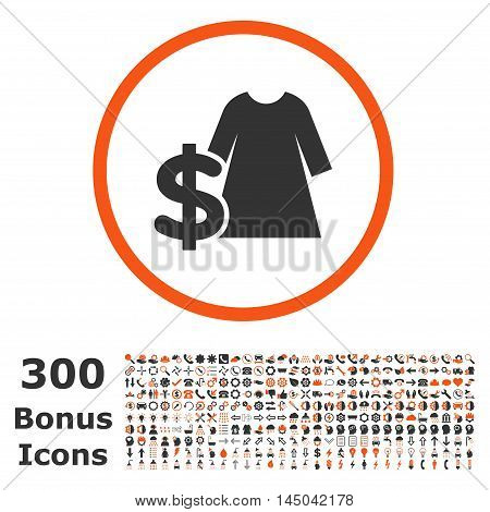 Dress Price rounded icon with 300 bonus icons. Vector illustration style is flat iconic bicolor symbols, orange and gray colors, white background.
