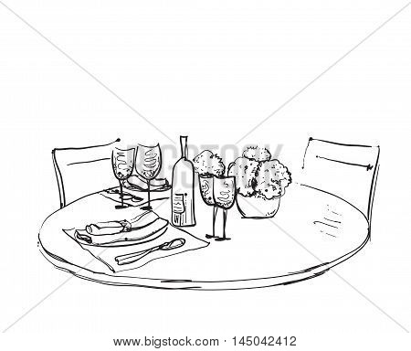 Hand Drawn wares. Romantic dinner for two. Wine and dishes