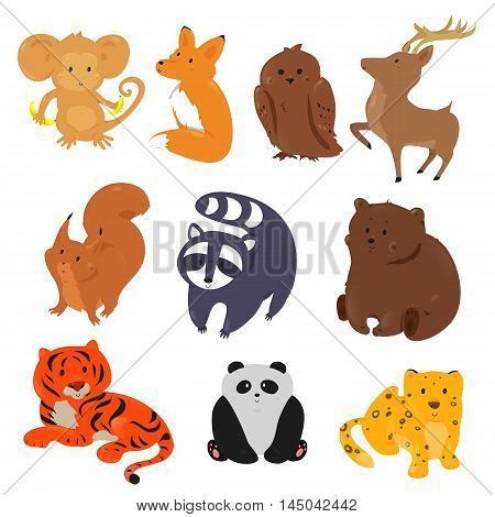Set of cute cartoon animals. Funny forest wild zoo. Vector illustration for fauna characters. Bright icon isolated on white background. Deer, fox, bear, owl, squirrel, raccoon, monkey, tiger, panda