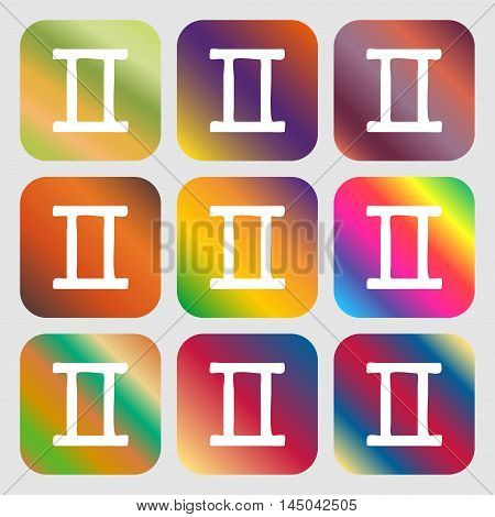 Gemini Sign Icon . Nine Buttons With Bright Gradients For Beautiful Design. Vector