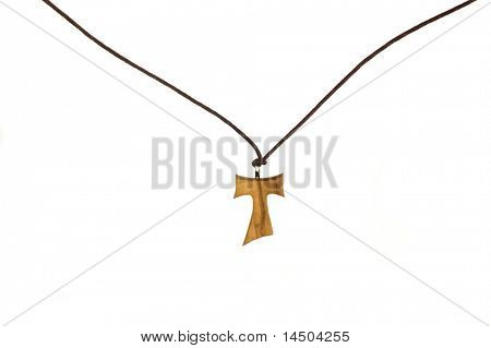 Wooden Tao Christian cross isolated on white background
