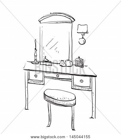 Hand drawn chair, table and mirror. Vanity table