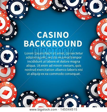 Red and blue casino chips with cards signs on casino table background with text template