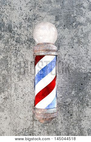 3d illustration of a barber pole on concrete wall