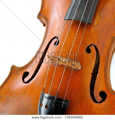 Close up of old wooden violin on a white background
