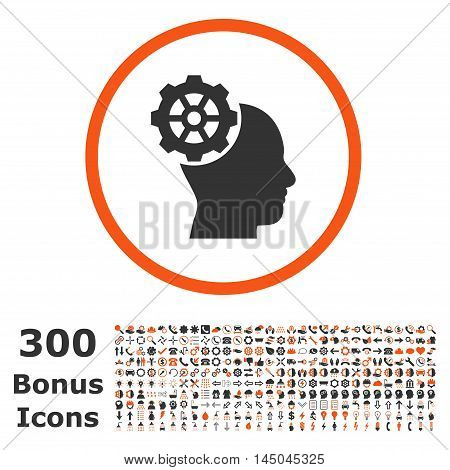 Head Gear rounded icon with 300 bonus icons. Vector illustration style is flat iconic bicolor symbols, orange and gray colors, white background.