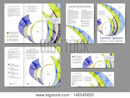 Set of color abstract brochure template with abstract lines and waves