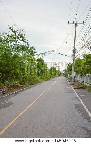 close up asphalt road in country thailand