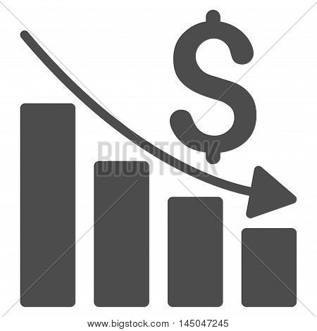 Sales Crisis Chart icon. Vector style is flat iconic symbol with rounded angles, gray color, white background.