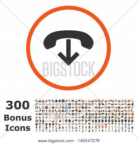 Phone Hang Up rounded icon with 300 bonus icons. Vector illustration style is flat iconic bicolor symbols, orange and gray colors, white background.