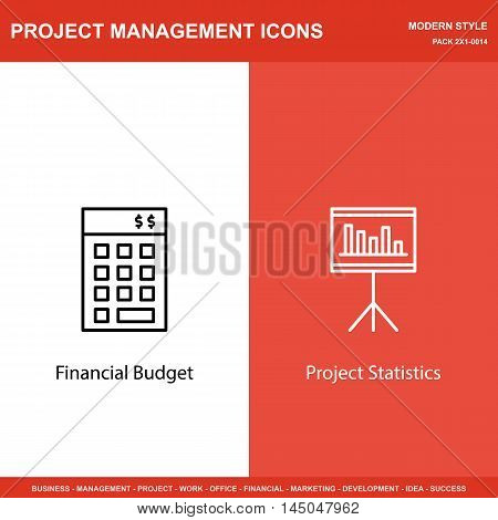 Set Of Project Management Icons On Investment And Statistics. Project Management Icons Can Be Used F