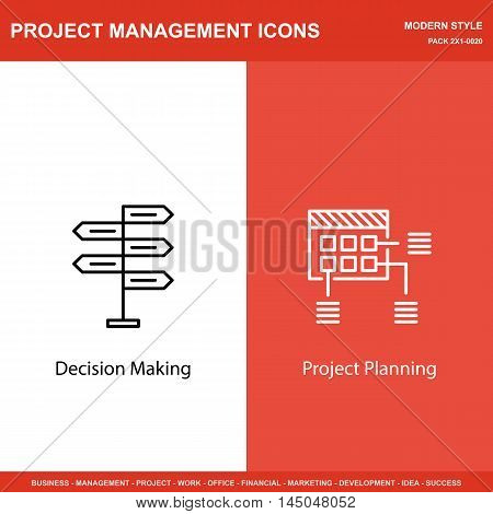 Set Of Project Management Icons On Decision Making And Planning. Project Management Icons Can Be Use