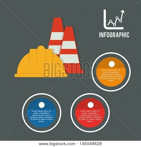 infographic cone helmet industrial security safety protection icon set. Colorful and flat design. Vector illustration