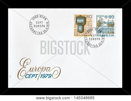 SWITZERLAND -CIRCA 1979 : Cancelled First Day Cover letter printed by Switzerland, that shows Europa CEPT stamps.