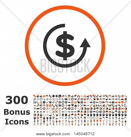 Refund rounded icon with 300 bonus icons. Vector illustration style is flat iconic bicolor symbols, orange and gray colors, white background.