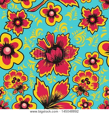 Russian folk art Khokhloma. Abstract flowers on a blue background. Floral seamless pattern. Vector illustration.