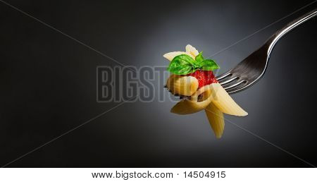 Macaroni pasta with tomato and basil on fork. Fine Italian food. Space for text. Professional studio image