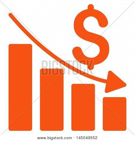 Sales Crisis Chart icon. Vector style is flat iconic symbol with rounded angles, orange color, white background.