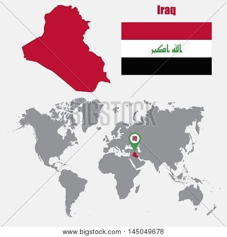 Iraq map on a world map with flag and map pointer. Vector illustration