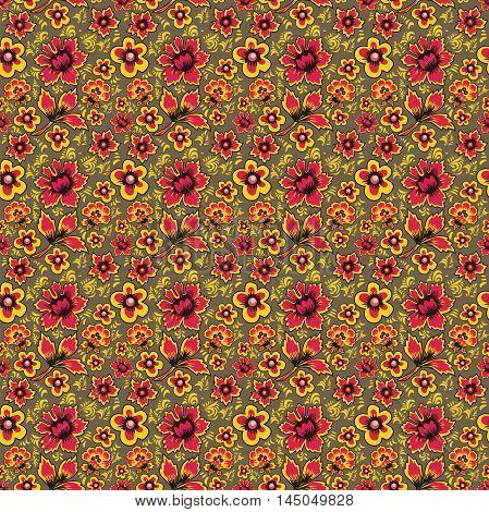 Russian folk art Khokhloma. Abstract flowers on a brown background