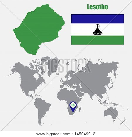 Lesotho map on a world map with flag and map pointer. Vector illustration
