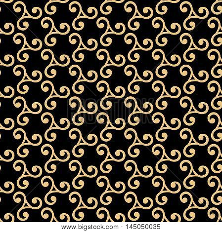 Seamless golden ornament. Modern geometric pattern with repeating elements on black