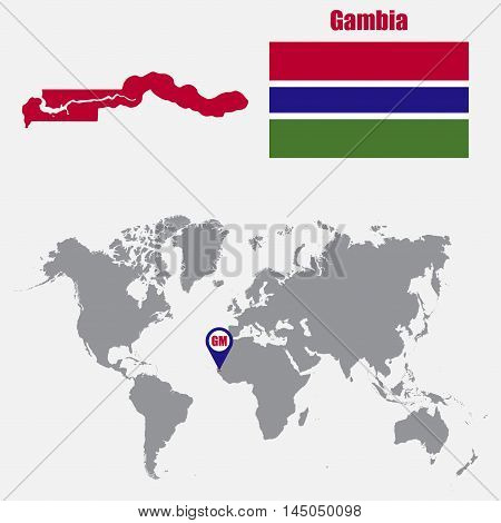 Gambia map on a world map with flag and map pointer. Vector illustration