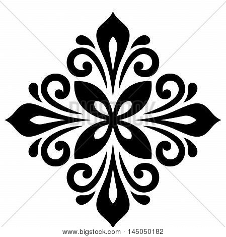 Oriental pattern with arabesques and floral elements. Traditional classic ornament. Black and white pattern