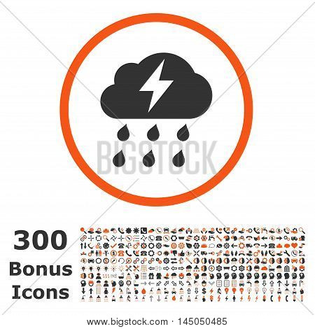 Thunderstorm rounded icon with 300 bonus icons. Vector illustration style is flat iconic bicolor symbols, orange and gray colors, white background.