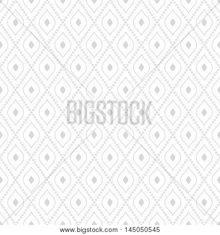 Geometric repeating ornament with diagonal dotted lines. Seamless abstract modern pattern. Light silver pattern