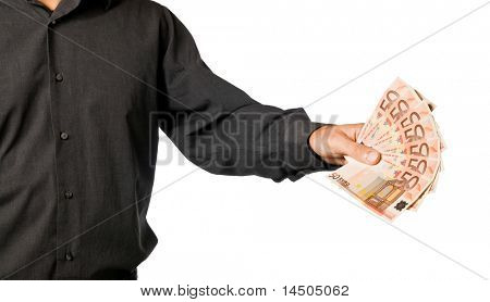 Hand with fifty euro money isolated on white background