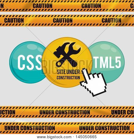under construction tools road sign barrier button cursor site web online digital icon set. Colorful and flat design. Vector illustration