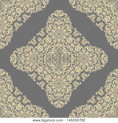 Oriental classic pattern. Seamless abstract background with repeating elements. Gray and golden pattern